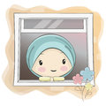 A Cute Muslim Girl Cartoon Starring Through the Window Royalty Free Stock Photo