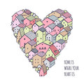 Cute naive house vector heart background. Kids style drawing. Royalty Free Stock Photo