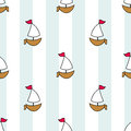 Cute nautical sailboats on a background of stripes and lines. Seamless vector illustration. Drawing for birthday, anniversary, par