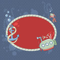 Cute nautical summer sea card with underwater creatures and sailor's knot Stock Image