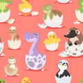Cute new born animals in eggs easter seamless pattern