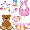 Cute New born baby girl toys graphic elements. Royalty Free Stock Photos