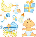 Cute New born baby graphic elements. Royalty Free Stock Photography