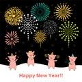 Cute New Year card, banner