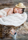 Cute newborn baby boy sleeping Royalty Free Stock Photo