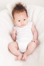 Cute newborn baby with fancy haircut boy Stock Photo