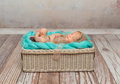 Cute newborn baby on turquoise blanket in cot Royalty Free Stock Photo