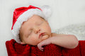 Cute Newborn Infant Wearing Sa...