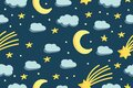 Cute night sky with yellow stars , moon and clouds. Seamless pattern. Modern hand drawn illustration in flat style. Baby nursery