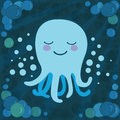 Cute octopus with water bubbles vector illustration of cartoon Stock Photos