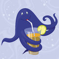 Cute octopus in the water purple with glass of cocktail Stock Images