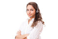 Cute office girl portrait of a fashionable wearing headset Stock Images