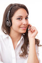 Cute office girl portrait of a fashionable wearing headset Royalty Free Stock Photos