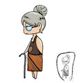 Cute old lady vector cartoon with black line drawing Royalty Free Stock Photo