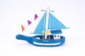 cute old wooden blue fishing boat isolated Royalty Free Stock Photo