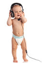 Cute one-year old boy wearing a headset Royalty Free Stock Photo
