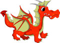 Cute orange dragon cartoon illustration of Royalty Free Stock Photography