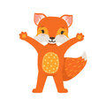 Cute orange fox character standing with hands up, funny cartoon forest animal posing vector Illustration Royalty Free Stock Photo