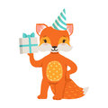 Cute orange fox character wearing in a party hat holding a gift box, funny cartoon forest animal posing vector Royalty Free Stock Photo