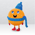 Cute orange fruit cartoon character vector Royalty Free Stock Photography