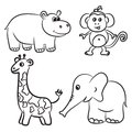 Cute outlined zoo animals collection