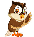 Cute owl cartoon illustration of Stock Photography