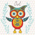 Cute owl character illustration of bright Stock Images