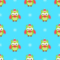Cute owl christmas seamless pattern horn, bow
