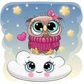 Cute Owl a on the Cloud