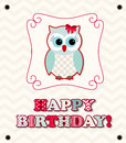 Cute owl with colorful patterned letters, birthday card, illustration