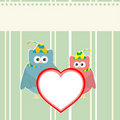 Cute owl holding red love heart card background Royalty Free Stock Photography