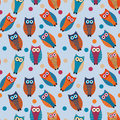 Cute owl kids seamless pattern, vintage style. Funny birds endless baby background. Vector illustration. Royalty Free Stock Photo