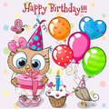 Cute Owl and little bird with balloon and bonnets
