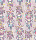 Cute owl seamless pattern Royalty Free Stock Photos