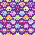 Cute owl seamless pattern,