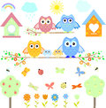 Cute owl Set of elements for design,