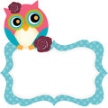 Cute owl tag scalable vectorial image representing a isolated on white Stock Photos
