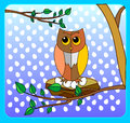 Cute owl on a tree branch in the style of animation on a merry n