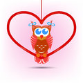 Cute owl valentine s day card a sitting on big red heart shape Stock Images