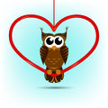 Cute owl valentine s day card a sitting on big red heart shape Royalty Free Stock Photos