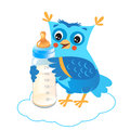 Cute Owlet With Milk Bottle. Welcome Baby Boy. Royalty Free Stock Photo