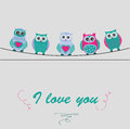 Cute owls in cartoon style Royalty Free Stock Photo