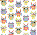 Cute owls seamless vector pattern