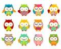 Cute owls set cartoon art Stock Images