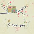 Cute owls sitting on branch with hearts Royalty Free Stock Images