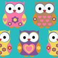 Cute Owls Surface Pattern Vector, Owls Repeat Pattern for Textile Design, Fabric Printing, Stationary, Packaging, Wallpaper or Bac