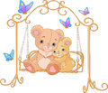 Cute pair bears swing Royalty Free Stock Photography