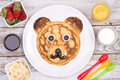 Cute pancake in shape of a bear Royalty Free Stock Photo