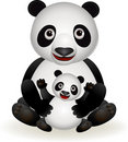 Cute panda and baby panda Royalty Free Stock Images