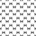 Cute Panda bear seamless pattern, black and white background. Vector illustration.
